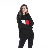 Women Casual Loose Fashion Velvet Multicolor Long Sleeve Pullover Hooded Sweater Tops