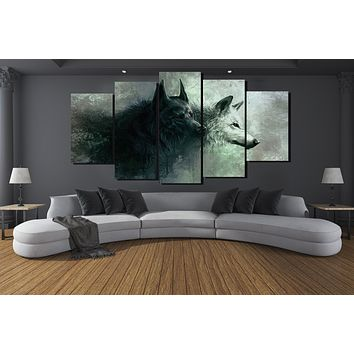5 Panels HD Printed Animal two Wolf Painting Canvas Print Room decor print poster Picture Canvas P0135