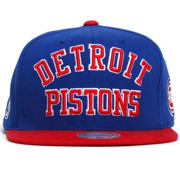 Detroit Pistons NBA Wordmark Snapback Hat Blue / Red