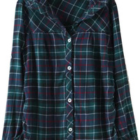 Green and Blue Collared Plaid Loose Fitting Blouse