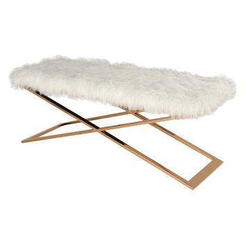 Laurel Faux Fur Bench Rose Gold Base, White