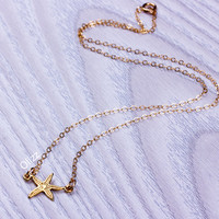 Starfish necklace / Gold starfish necklace / Beach Wedding / Beach necklace / Gold filled / Bridesmaid jewelry / Ocean jewelry | 0203NM