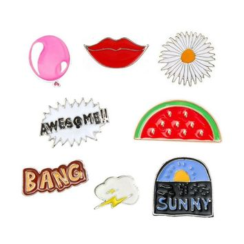 Trendy 1 pcs cartoon watermelon balloon lip metal brooch button pins denim jacket pin decoration badge for clothes lapel pins AT_94_13
