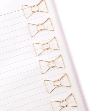 Rose Gold Bow Paper Clip Set