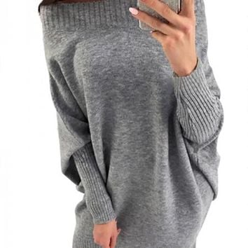 Gray Long Sleeve Baggy Sweater Dress