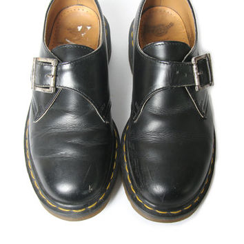 Vintage 90s Dr Martens Buckle Shoe - Made in England - Size 4 UK - 6 Womens US - Buckle Docs - Doc Martens Shoes - Dr Martens
