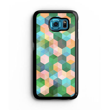 hexagon pattern in mint green Samsung S6 s5 s4 S3 Case, Note 3 4 5 Case, iPhone 6s 5s 5c 4s Cases, iPod case, HTC case, Xperia Z3 case, LG G3 Nexus case, iPad cases