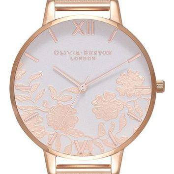 Olivia Burton Lace Detail Mesh Strap Watch, 38mm | Nordstrom