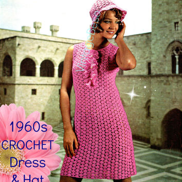 1960s Party Dress Crochet Pattern and Hat Crochet Pattern Dress with JABOT + coordinating Hat Club Dress Festival Dress Instant Digital PDF