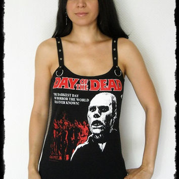 Day of the Dead shirt Horror Tank Top halloween alternative clothing reconstructed