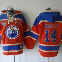 Edmonton Oilers Mens Sweaters #14 Jordan Eberle Orange Ice Hockey Hoodies Jersey Embroidery Logo Can Mix Order 3139