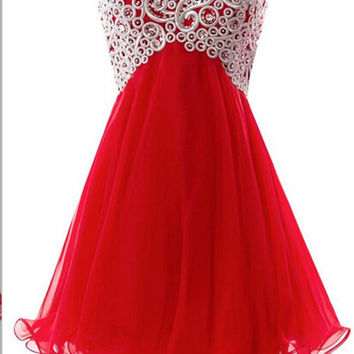 Red Lace Homecoming Dress