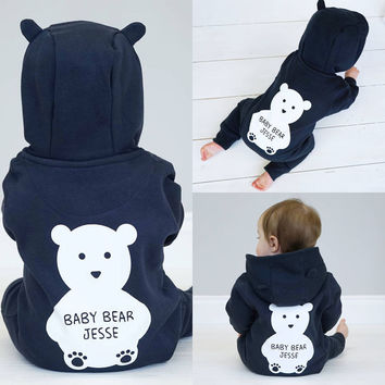 Kids Baby Boys Girls Clothing Warm Infant Romper Jumpsuit Cute Bear Hooded Clothes Baby Boys Outfit Autumn