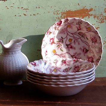 Vintage Copeland Spode Berry Bowls, Set of Six, Rosebud Chintz Pattern, Pink Roses Dinnerware, Side Dishes, Retro Cottage Kitchen Decor