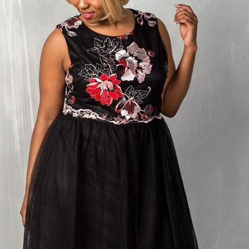 Black Floral Plus Size Fit and Flare Dress