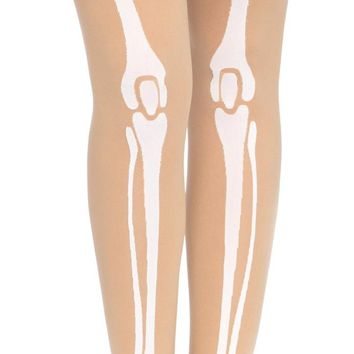 Skeleton Print Bone Tights Adult costume