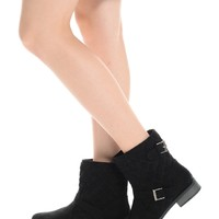 Black Quilted Moto Boots | $10.00 | Cheap Trendy Boots Chic Discount Fashion for Women | ModDeals.c