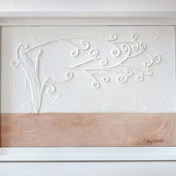 Whimsical Tree Painting - Mixed Media Original - Neutral Colors - Fantasy Relief String Work - Framed