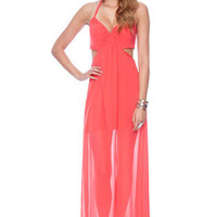 Maxi'd Out Halter Dress in Coral :: tobi