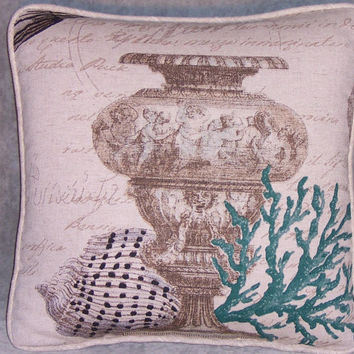 "Urn and Green Coral Throw Pillow 15"" Square Insert Included Ready Ship Seashell Sunken Treasure Beach Island Decor Script Writing  OOAK  (B)"