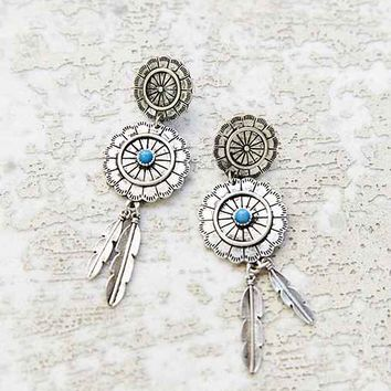 Concho Drop Earring- Silver One