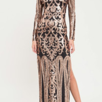 BAROQUE DAMASK SEQUINED GOWN