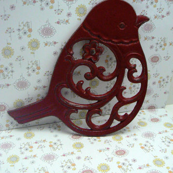 Bird Flower Cast Iron Trivet Hot Plate French Country Red Distressed Shabby Chic Ornate Swirly Chunky Bird Kitchen Country Chic Decor