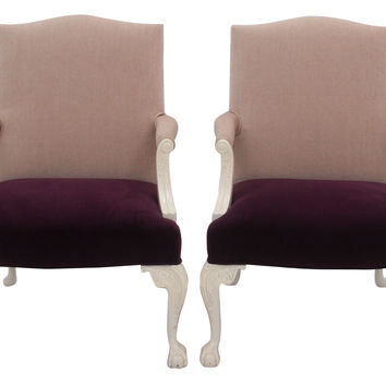 Queen Anne-Style  Chairs, Pair