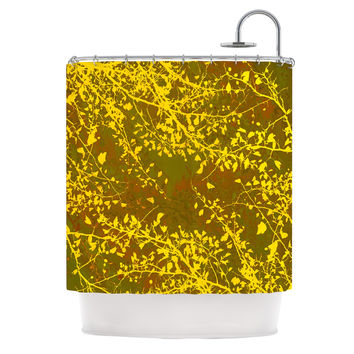 "Iris Lehnhardt ""Twigs Silhouette Earthy"" Brown Yellow Shower Curtain"