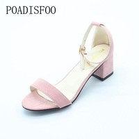 DCK7YE POADISFOO Summer Women Sandals Open Toe Flip Flops Women's Sandles Thick Heel Women Sh
