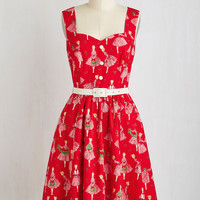 Pinup Mid-length Sleeveless Fit & Flare Biking Through Brussels Dress in Holiday