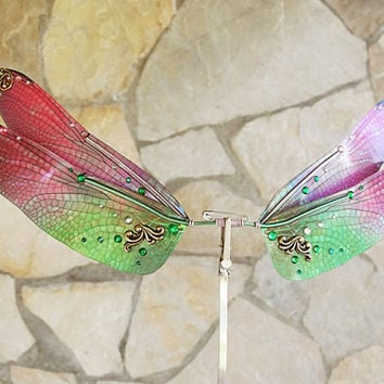 1/6 OOAK DragonFly Wings for dolls  - Green Pink