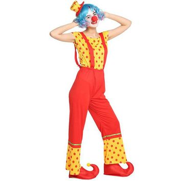 Umorden Purim Carnival Halloween Party Circus Clown Costumes for Women Adult Clown Cosplay Costume Set Rompers