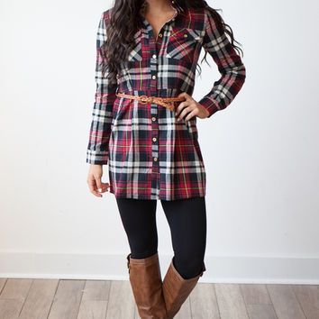 Memphis Belted Flannel Plaid Shirt Dress - Red