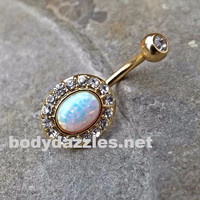 Sparkly Fire Opal White Belly Button Silver Goldn Navel Ring Body Jewelry Fits in Navel 14ga Cute Belly Ring