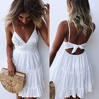 Sexy Lace Beach Dress Ladies Bikini Swimsuit Cover Up Tunics Beach Bathing Suits Swimwear