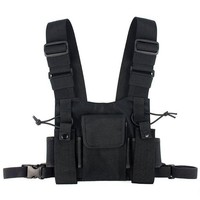 ONETOW Abbree Chest Harness Chest Front Pack Pouch Holster Vest Rig Carry for Two Way Radio Baofeng TYT Wouxun Motorola Walkie Talkie