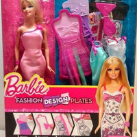 Barbie doll set with clothing and fashion design plates ages 5+ New in box