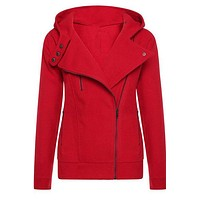 Solid Color Zipper Buttons Hooded Coat Slim Hoodie