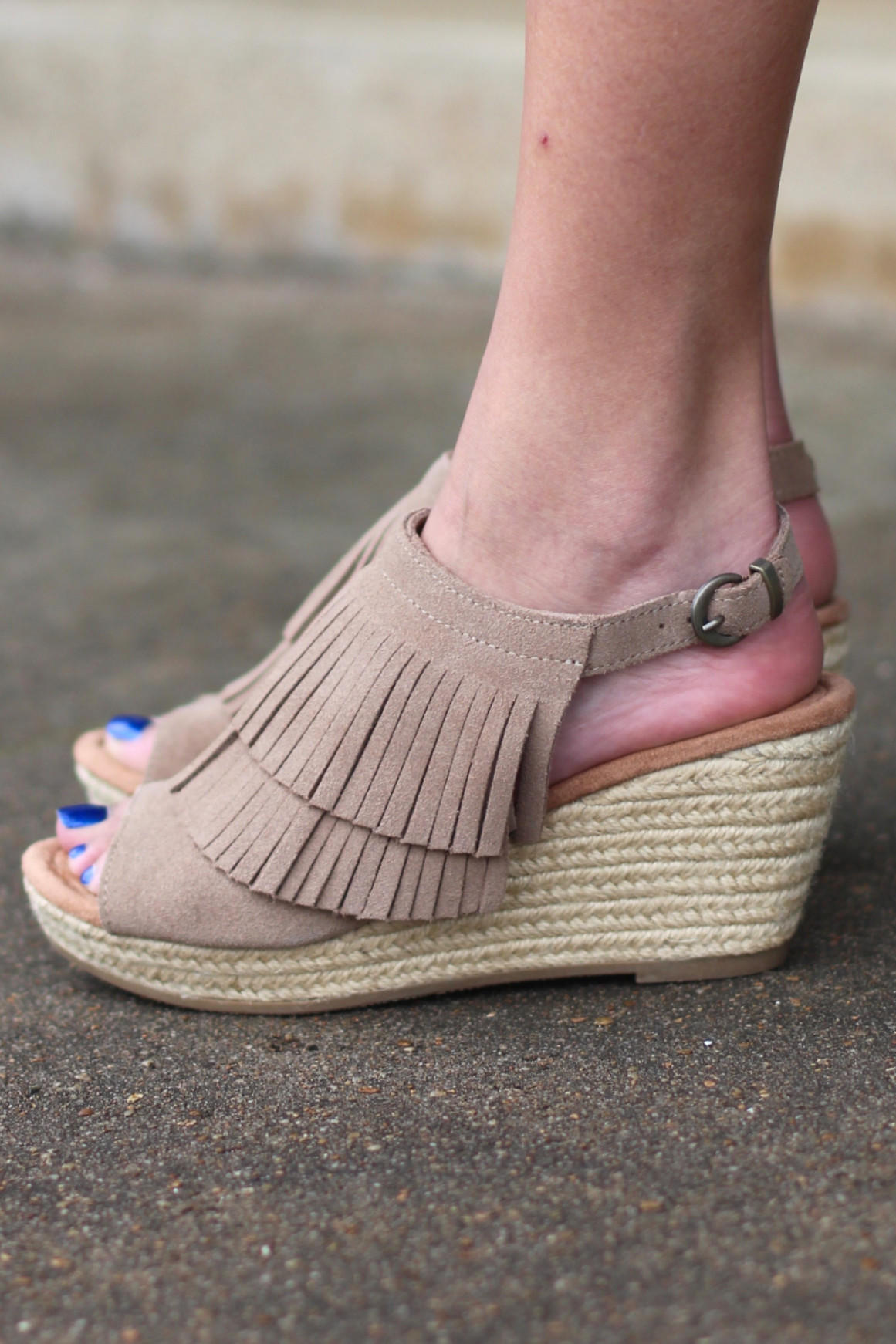 Minnetonka  Ashley Fringe Wedge  Taupe  from The Fair Lady 59e104013