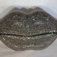 Lips Telephone with Rhinestone Bling in Metallic Silver N 225
