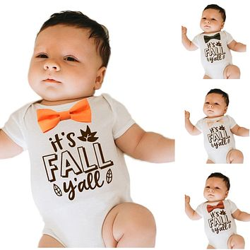 Boys Thanksgiving Shirt Fall Ya'll with Bow Tie Cute Bodysuit with Saying