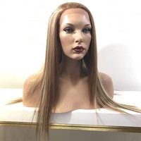 Frost Straight Human Hair Blend Multi Parting blond hi lights wig 22'