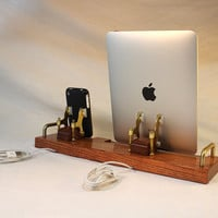 DUAL Unit - IPad - IPhone - IPod - EX Dock - Sync And Charging IDock Station- Custom Built Oak Model | Luulla