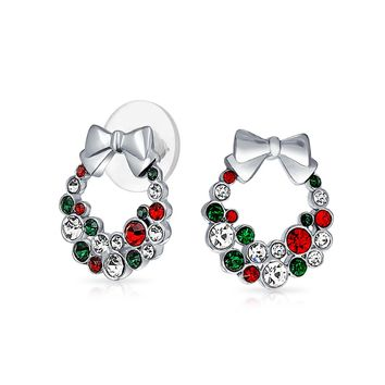 Bow Red Green White Crystal Wreath Stud Earrings Crystal Silver Plate