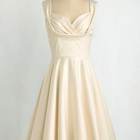 Pinup Long Tank top (2 thick straps) Fit & Flare Aisle Be There Dress in Ivory