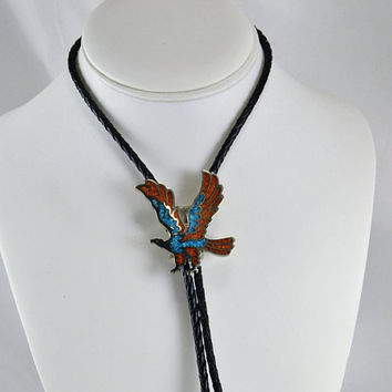 Bolo Tie Eagle Turquoise & Coral Chips - Black Color Braided Leatherette - Unisex - Silver Tone - Vintage Cowboy Cowgirl Fashion