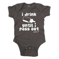 Fayebeline Boutique Quality Baby Onesuit I Drink Until I Pass Out Funny Baby Gift, Gray, 6-12M
