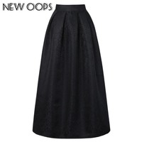 NEW OOPS New Vintage Long Maxi Skirts Fashion 2017 Spring Retro Pleated Floor-length Ball Gown Women's Skirts Saias A1611041