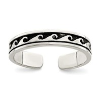 Sterling Silver Antiqued Wave Adjustable Toe Ring